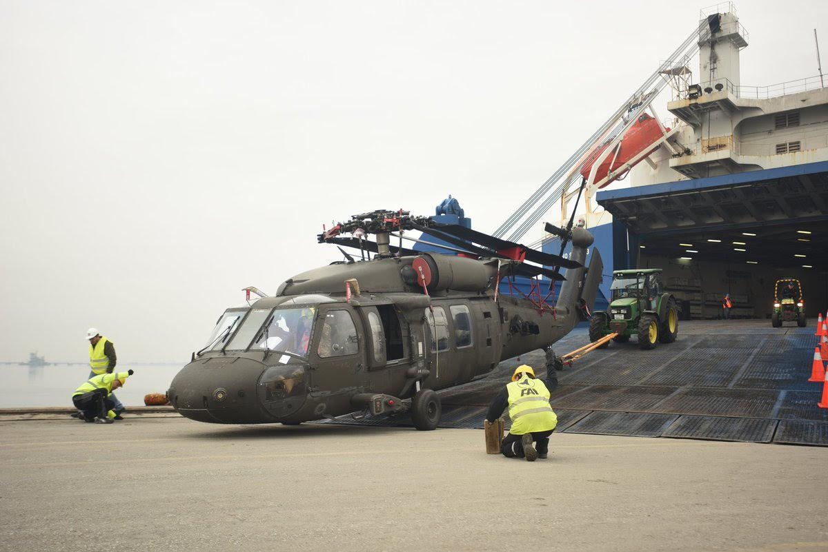 U S  Army 10th Combat Aviation Brigade arrives at Thessaloniki Port
